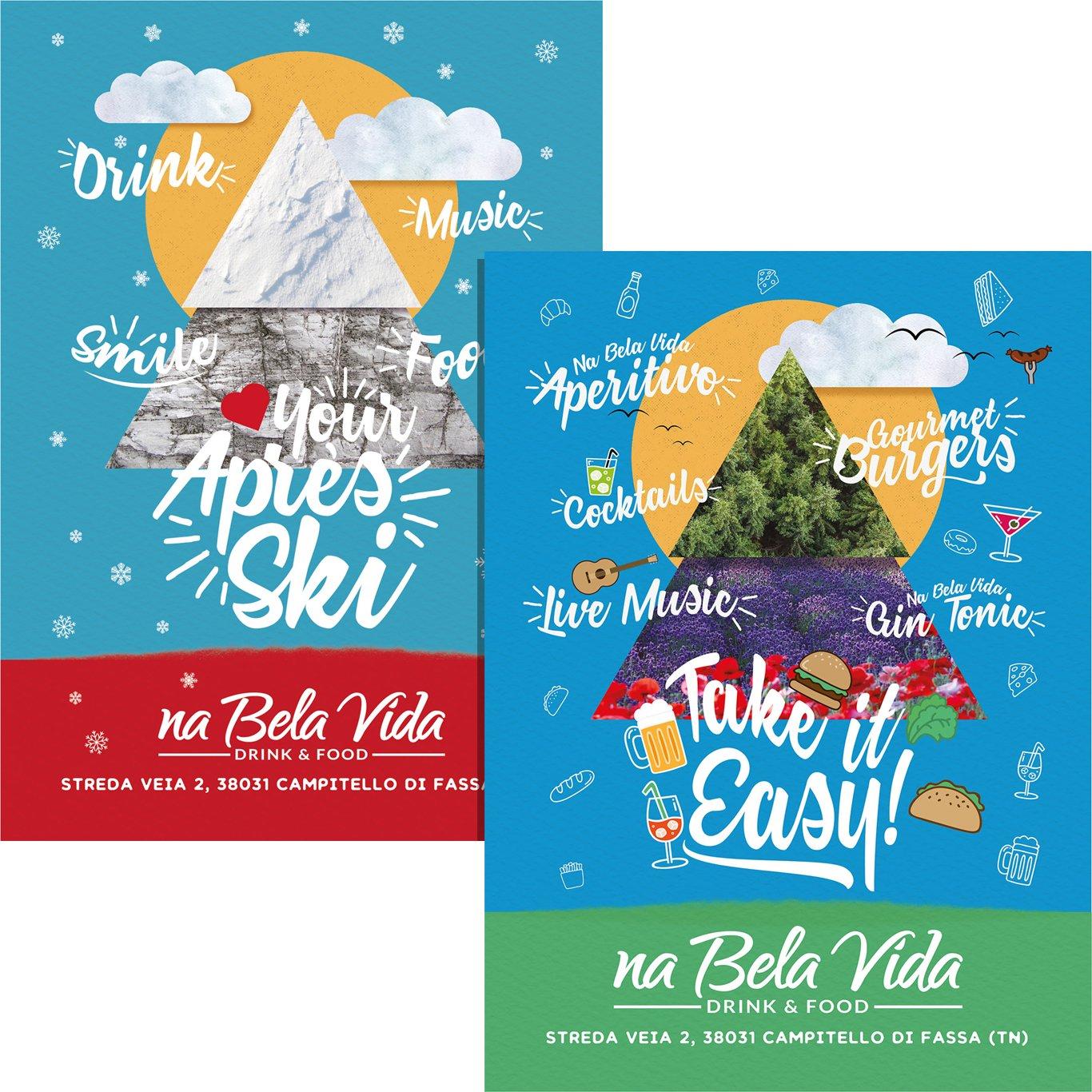 Poster realizzati per il Na Bela Vida di Campitello di Fassa - monfinedesign